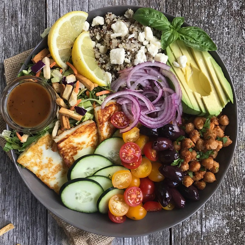 Mediterranean Buddha Bowl With Toasted Chickpea And Halloumi