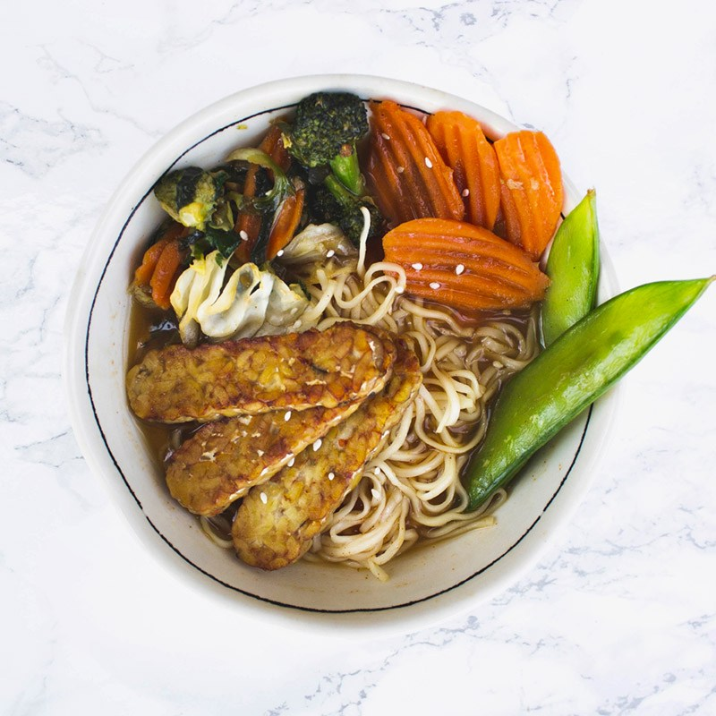 Ginger Garlic Stir Fry Vegetable Ramen Bowl