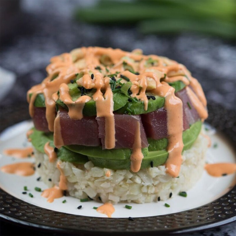 Tuna Stack With Cauliflower Sushi Rice