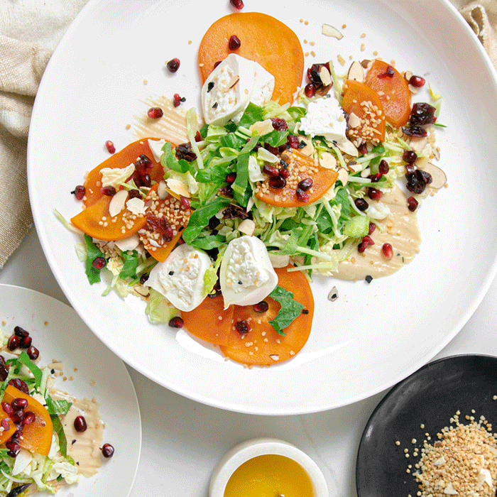 Citrus Crunch with Persimmons, Burrata and Cashew Butter