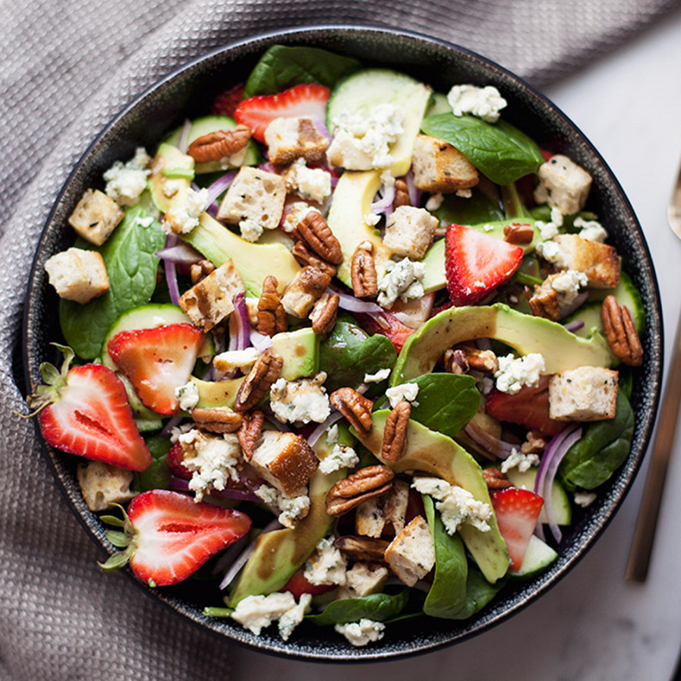 Maple Spinach Salad + Strawberries + Avocado