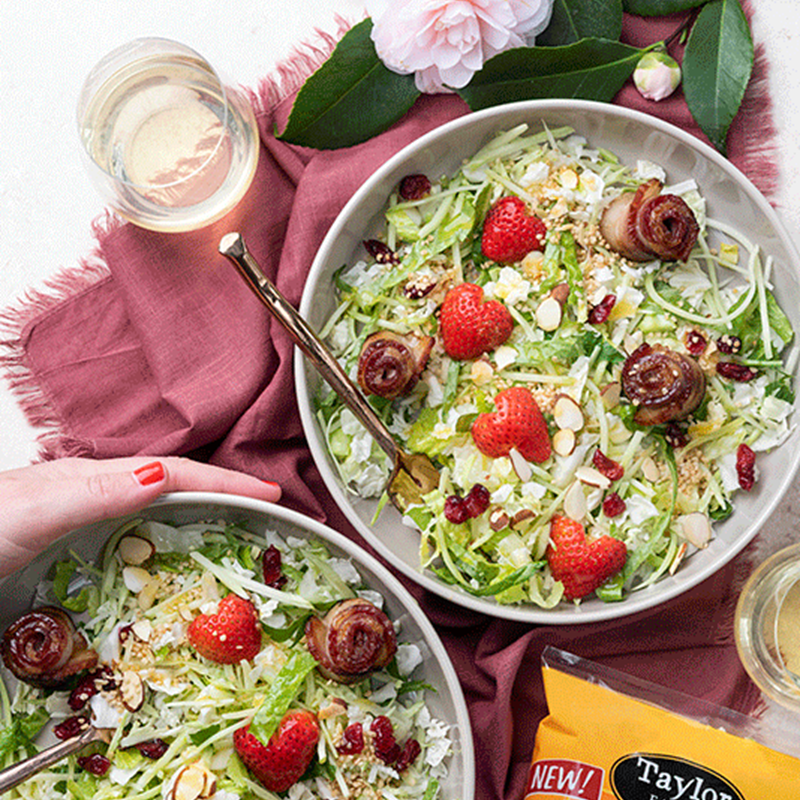 Citrus Crunch Salad with Bacon Roses and Strawberries