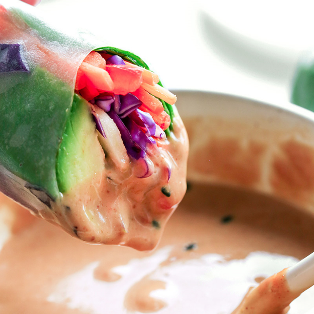 Spinach & Avocado Spring Rolls with Peanut Dipping Sauce